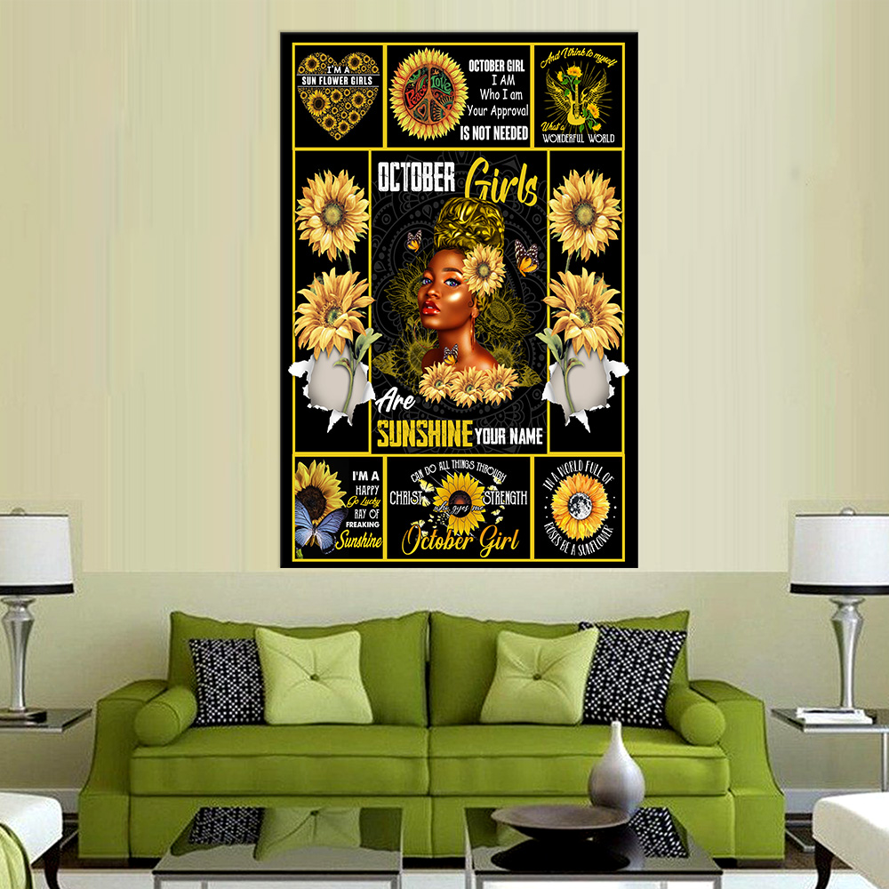 Personalized Wall Art Poster October Girls Are Sunshine Pattern 2 Prints Decoracion Wall Art Picture Living Room Wall