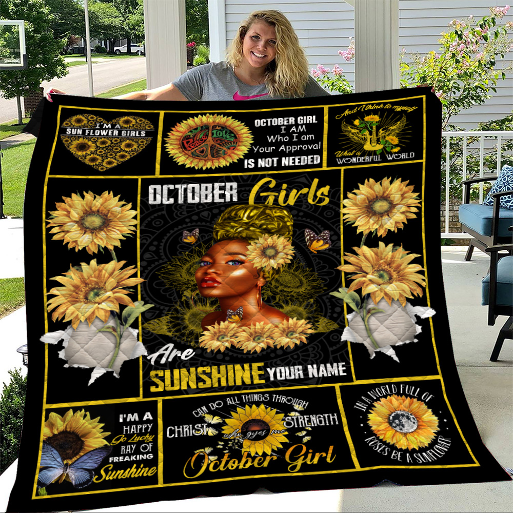 Personalized Quilt Throw Blanket October Girls Are Sunshine Pattern 2 Lightweight Super Soft Cozy For Decorative Couch Sofa Bed