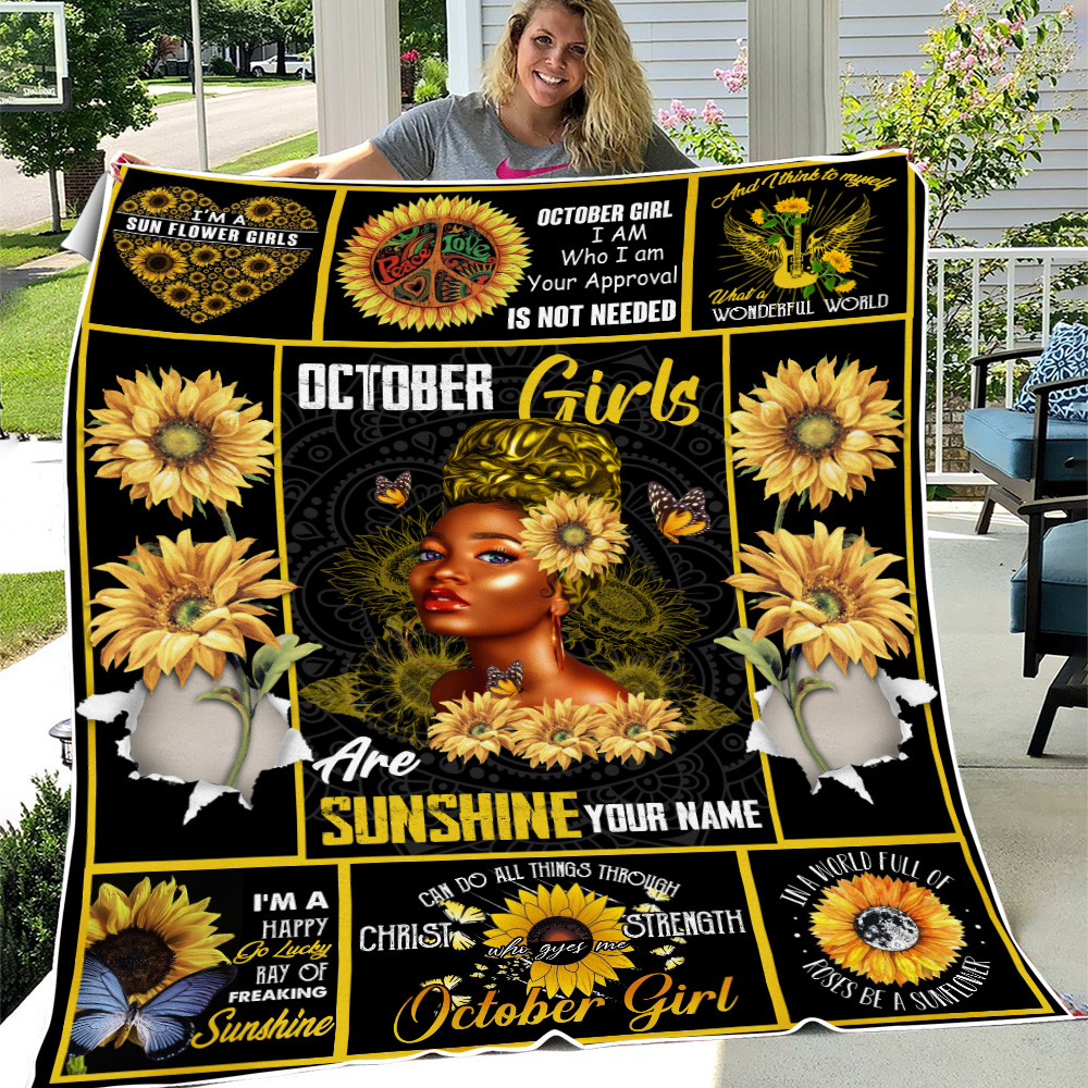 Personalized Fleece Throw Blanket October Girls Are Sunshine Pattern 2 Lightweight Super Soft Cozy For Decorative Couch Sofa Bed