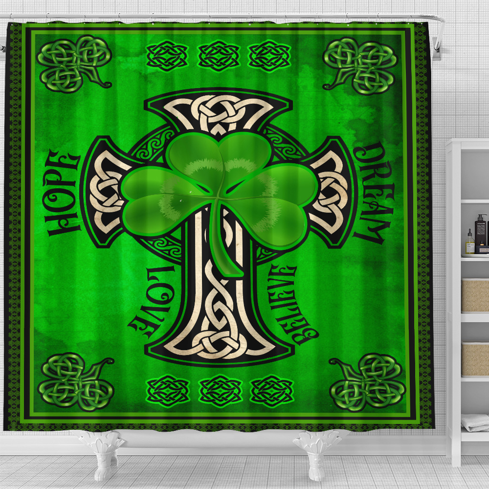 Personalized Lovely Shower Curtain St Patrick's Day Irish Hope Dream Love Believe Pattern 1  Set 12 Hooks Decorative Bath Modern Bathroom Accessories Machine Washable