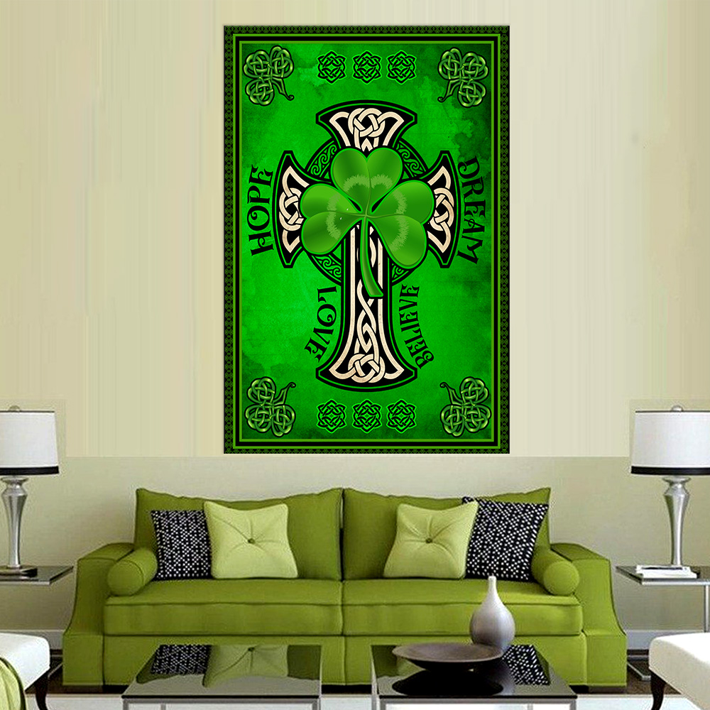 Personalized Lovely Wall Art Poster St Patrick's Day Irish Hope Dream Love Believe Pattern 1  Prints Decoracion Wall Art Picture Living Room Wall