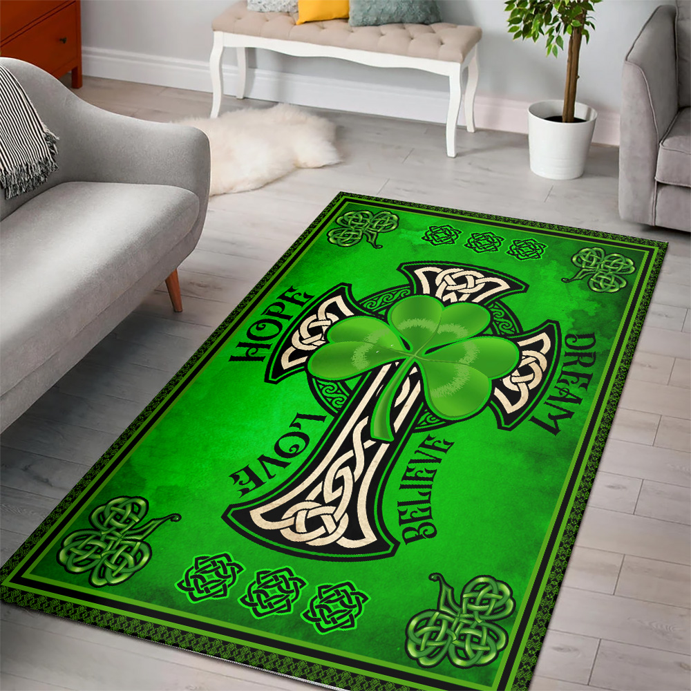 Personalized Lovely St Patrick's Day Irish Hope Dream Love Believe Pattern 1  Vintage Area Rug Anti-Skid Floor Carpet For Living Room Dinning Room Bedroom Office