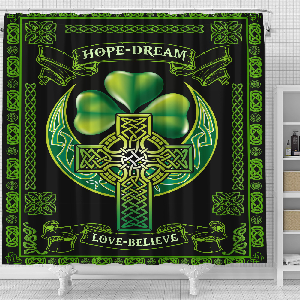 Personalized Lovely Shower Curtain St Patrick's Day Irish Hope Dream Love Believe Pattern 2 Set 12 Hooks Decorative Bath Modern Bathroom Accessories Machine Washable