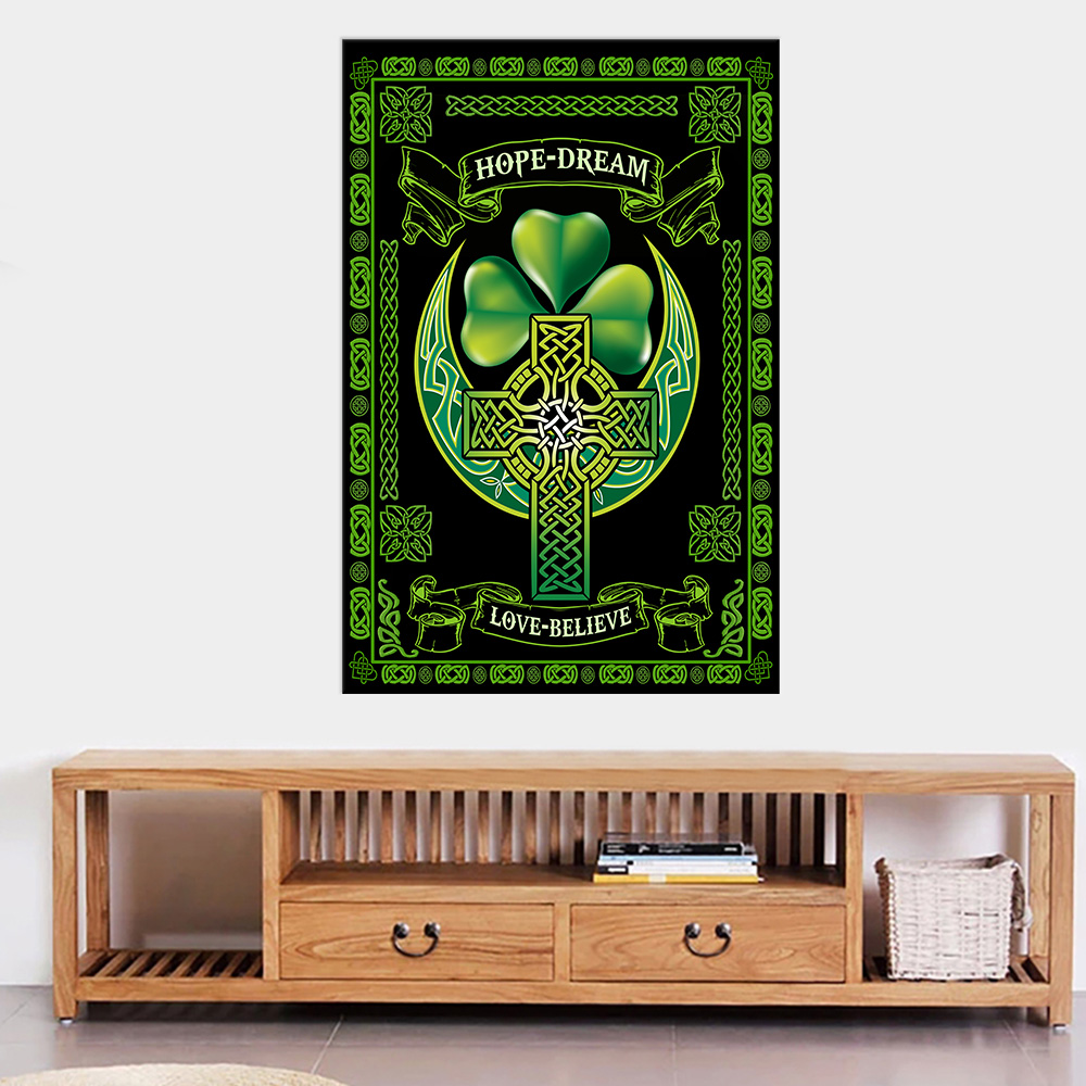 Personalized Lovely Wall Art Poster St Patrick's Day Irish Hope Dream Love Believe Pattern 2 Prints Decoracion Wall Art Picture Living Room Wall