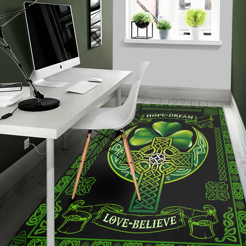 Personalized Lovely St Patrick's Day Irish Hope Dream Love Believe Pattern 2 Vintage Area Rug Anti-Skid Floor Carpet For Living Room Dinning Room Bedroom Office