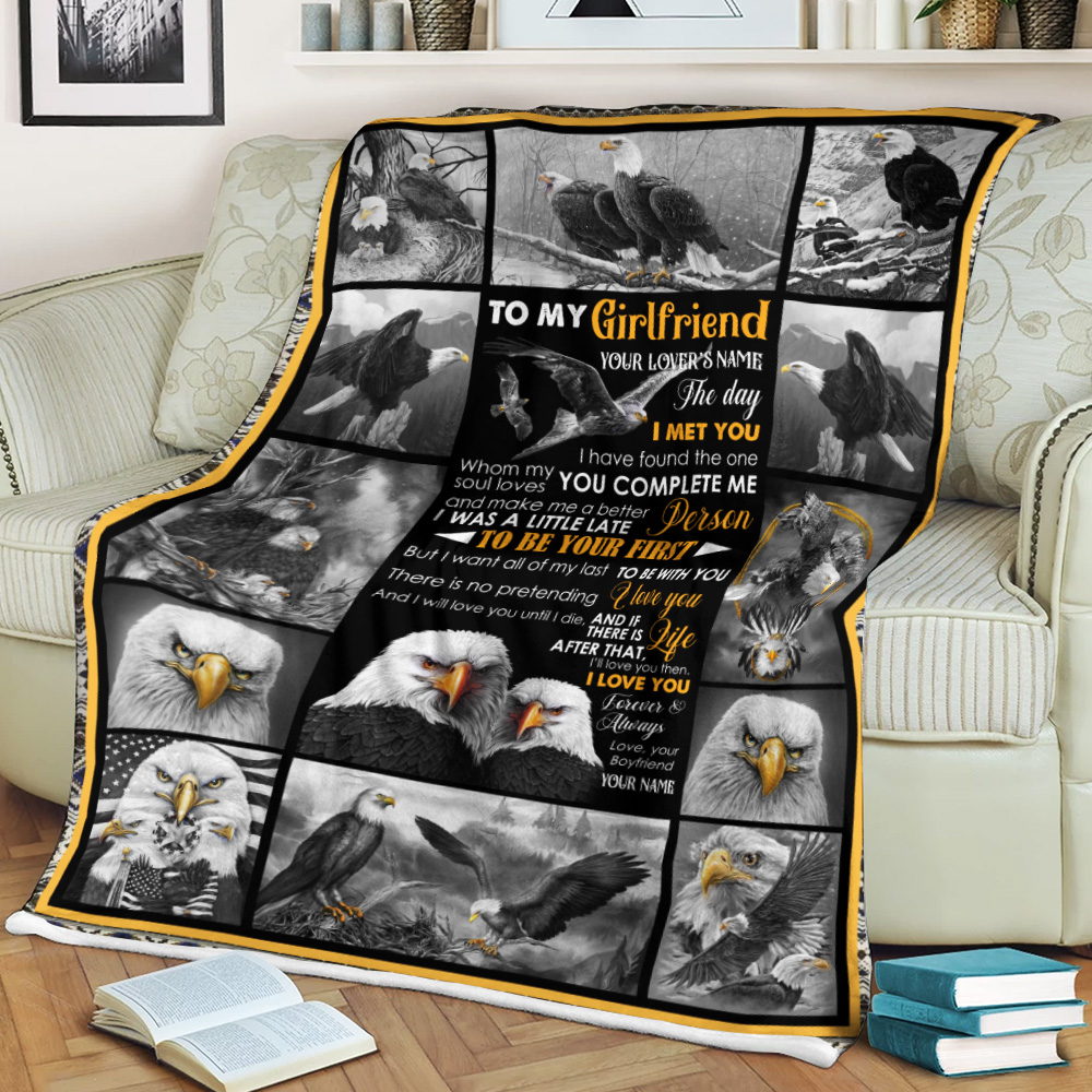 Personalized Lovely Fleece Throw Blanket To My Girlfriend The Day I Met You I Have Found The One Whom My Soul Loves Pattern1 Lightweight Super Soft Cozy For Decorative Couch Sofa Bed