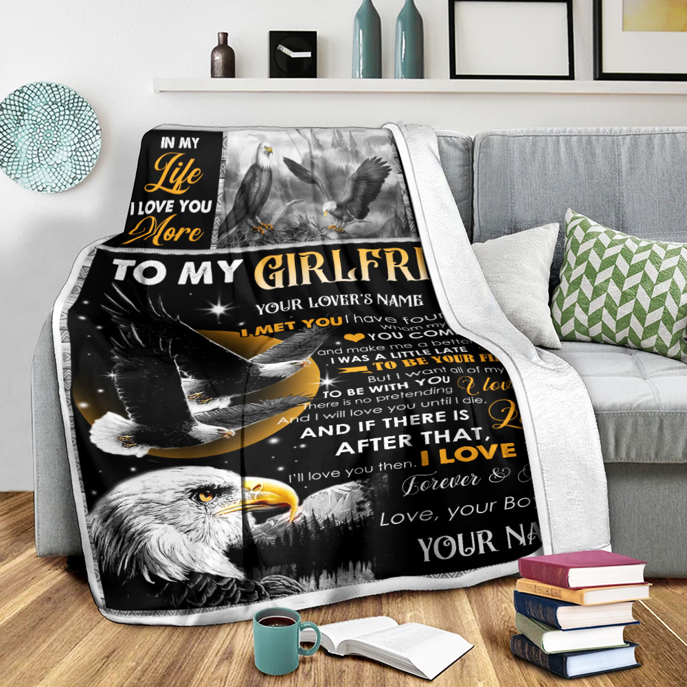 Personalized Lovely Fleece Throw Blanket To My Girlfriend The Day I Met You I Have Found The One Whom My Soul Loves Pattern 2 Lightweight Super Soft Cozy For Decorative Couch Sofa Bed