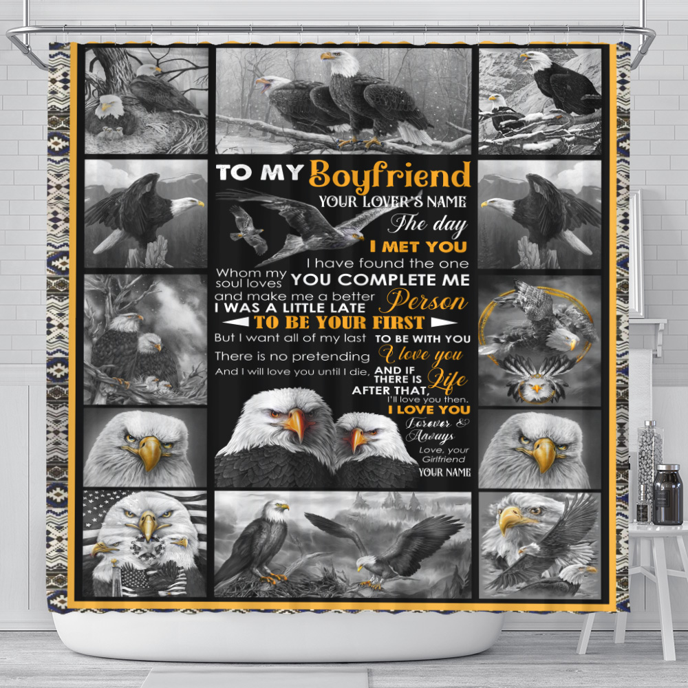 Personalized Lovely Shower Curtain To My Boyfriend The Day I Met You I Have Found The One Whom My Soul Loves Pattern 1 Set 12 Hooks Decorative Bath Modern Bathroom Accessories Machine Washable