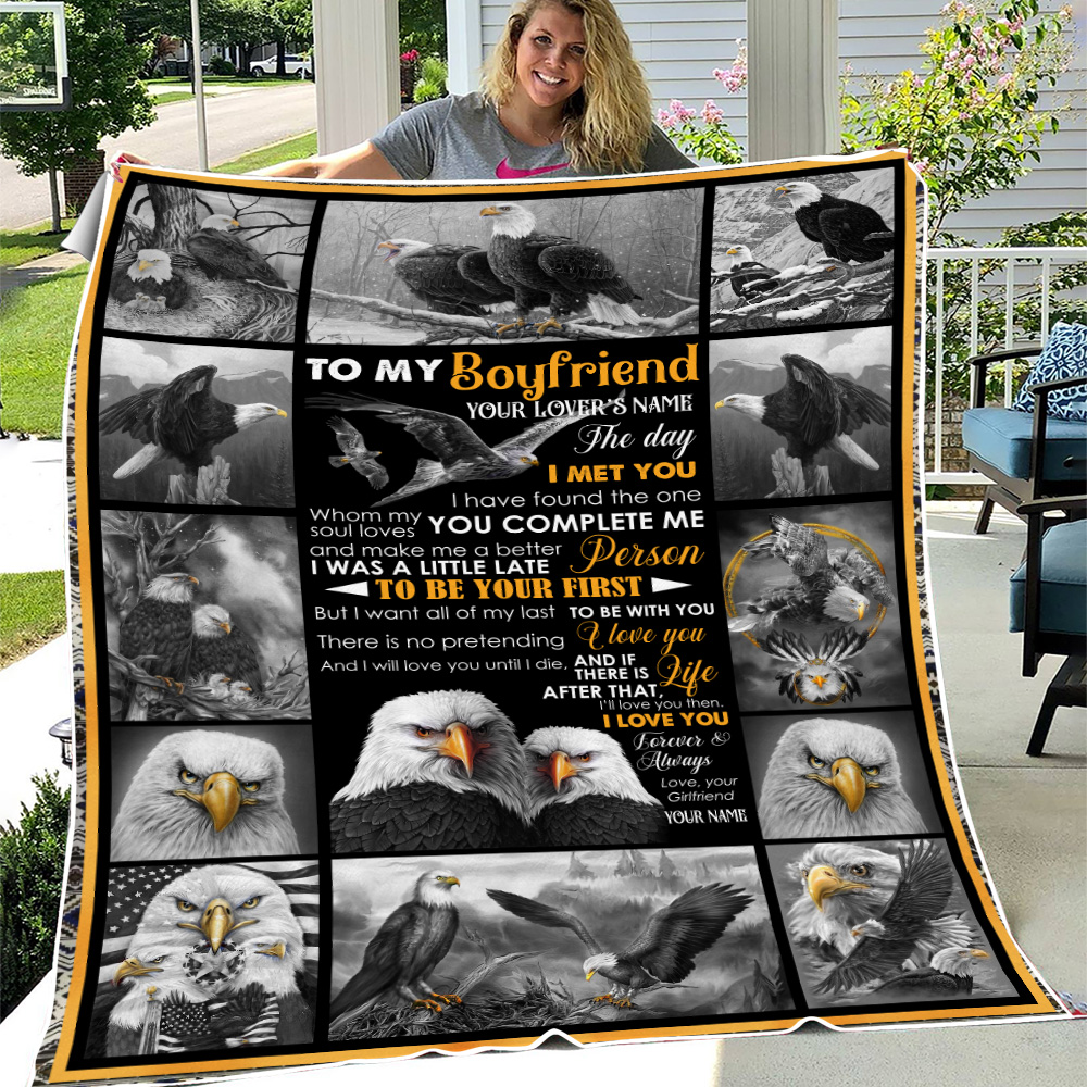 Personalized Lovely Fleece Throw Blanket To My Boyfriend The Day I Met You I Have Found The One Whom My Soul Loves Pattern 1 Lightweight Super Soft Cozy For Decorative Couch Sofa Bed