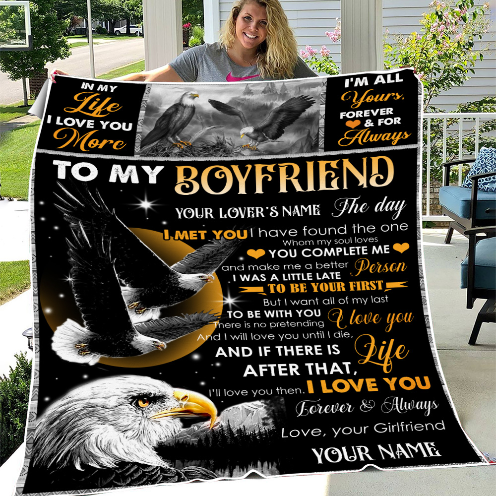 Personalized Lovely Fleece Throw Blanket To My Boyfriend The Day I Met You I Have Found The One Whom My Soul Loves Pattern 2 Lightweight Super Soft Cozy For Decorative Couch Sofa Bed