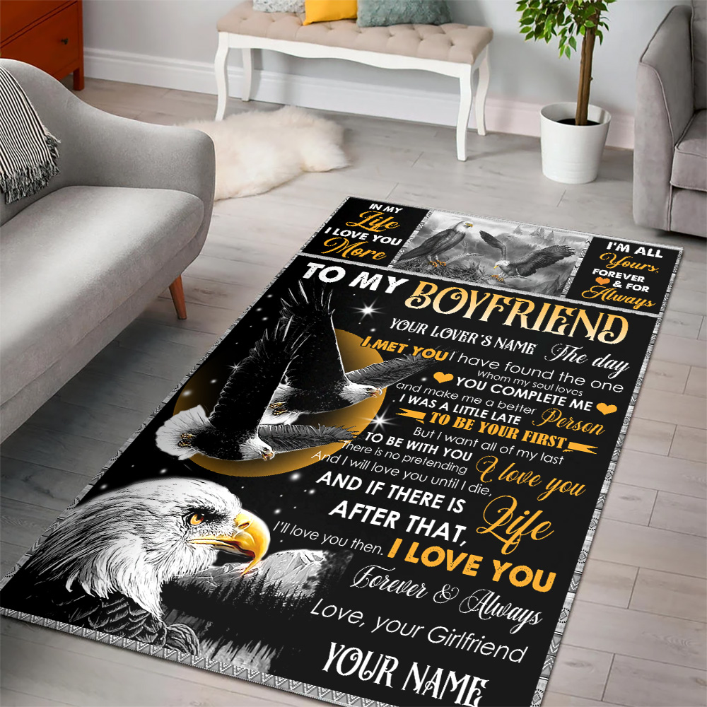 Personalized Lovely To My Boyfriend The Day I Met You I Have Found The One Whom My Soul Loves Pattern 2 Vintage Area Rug Anti-Skid Floor Carpet For Living Room Dinning Room Bedroom Office