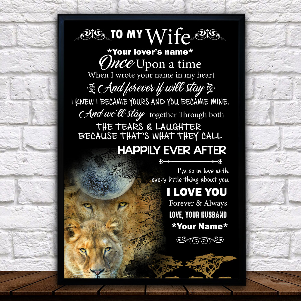Personalized Wall Art Poster Canvas 1 Panel To My Wife Once Upon A Time I Love You Forever& Always Great Idea For Living Home Decorations Birthday Christmas Aniversary