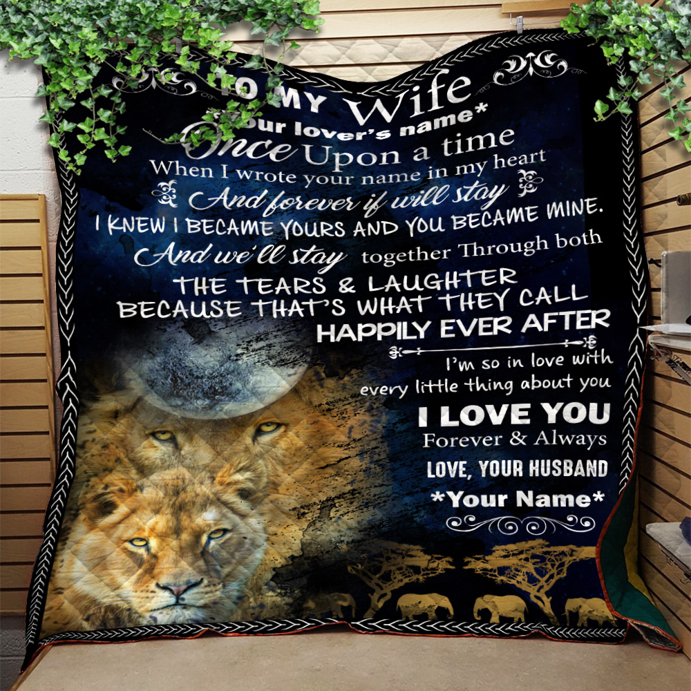Personalized Quilt Throw Blanket To My Wife Once Upon A Time I Love You Forever& Always Lightweight Super Soft Cozy For Decorative Couch Sofa Bed