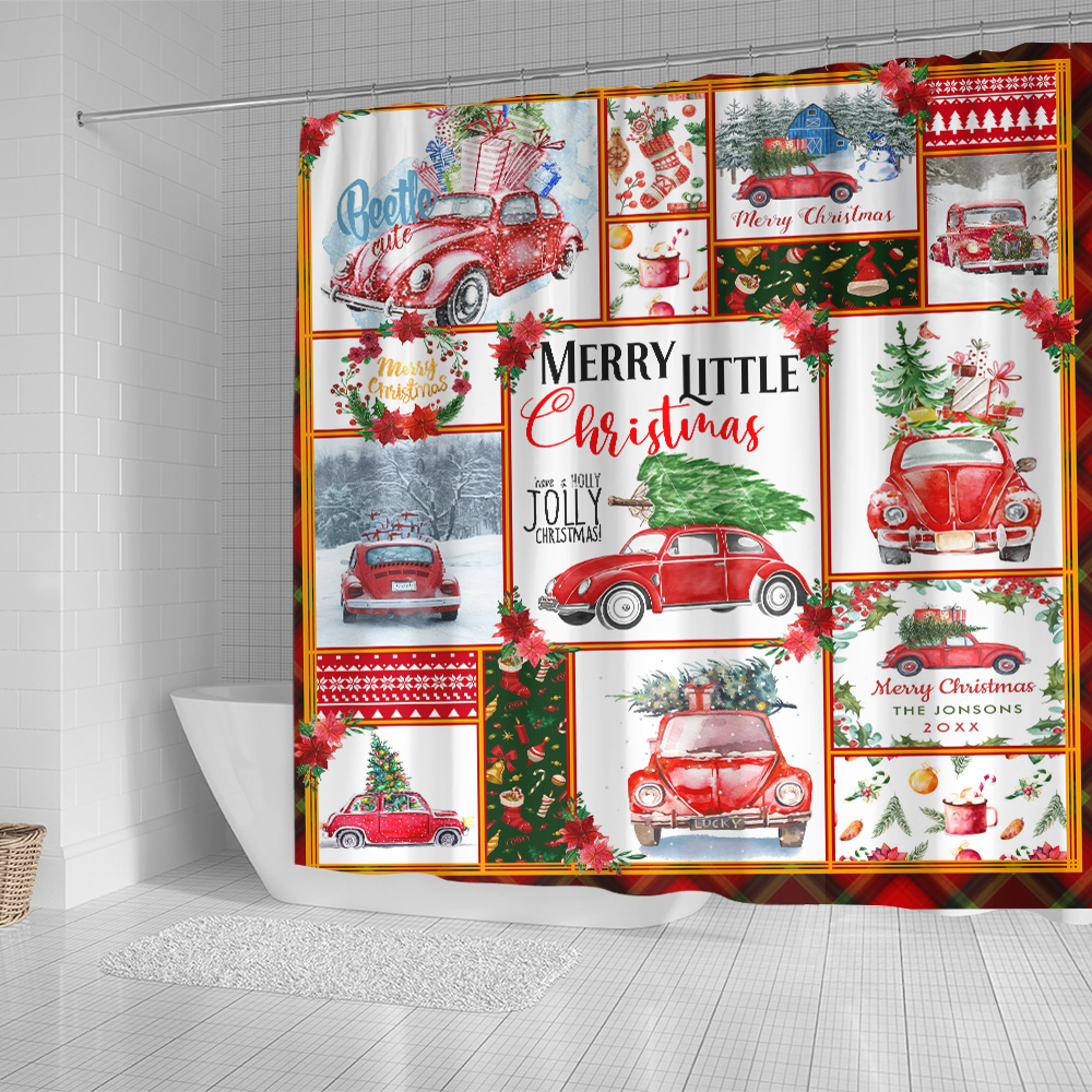 Personalized Shower Curtain 71 X 71 Inch Red Volkswagen Beetle Christmas Pattern 1 Set 12 Hooks Decorative Bath Modern Bathroom Accessories Machine Washable