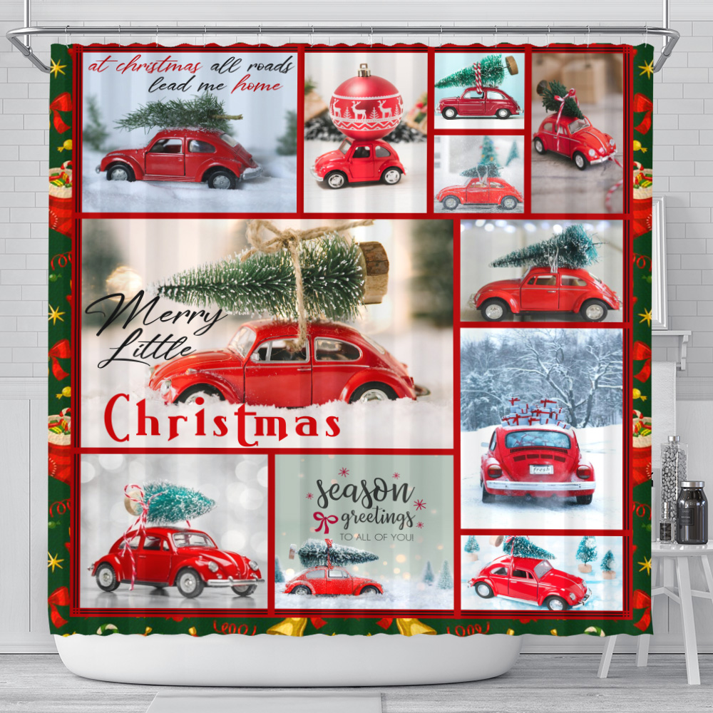 Personalized Shower Curtain 71 X 71 Inch Red Volkswagen Beetle Christmas Pattern 2 Set 12 Hooks Decorative Bath Modern Bathroom Accessories Machine Washable