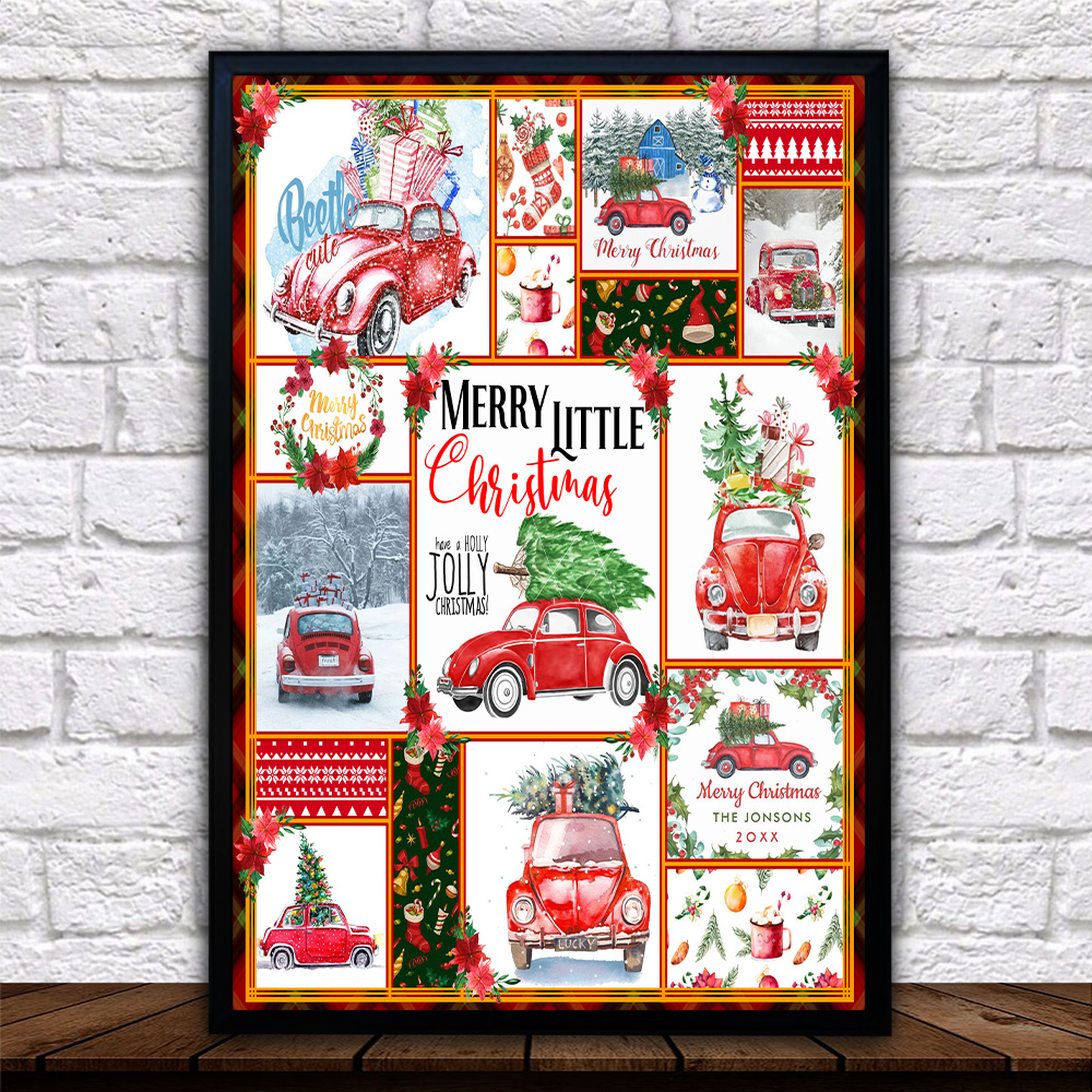 Personalized Wall Art Poster Canvas 1 Panel Red Volkswagen Beetle Christmas  Pattern 1 Great Idea For Living Home Decorations Birthday Christmas Aniversary