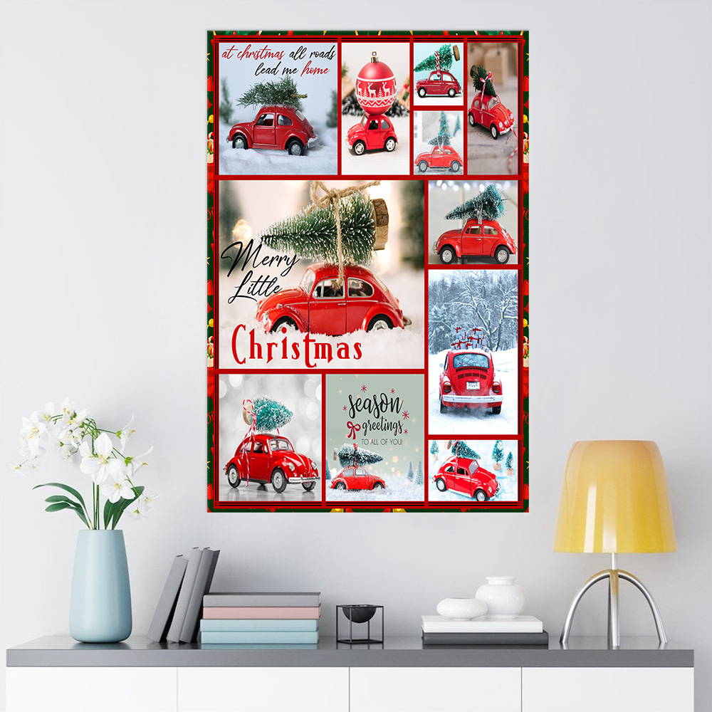 Personalized Wall Art Poster Canvas 1 Panel Red Volkswagen Beetle Christmas Pattern 2 Great Idea For Living Home Decorations Birthday Christmas Aniversary