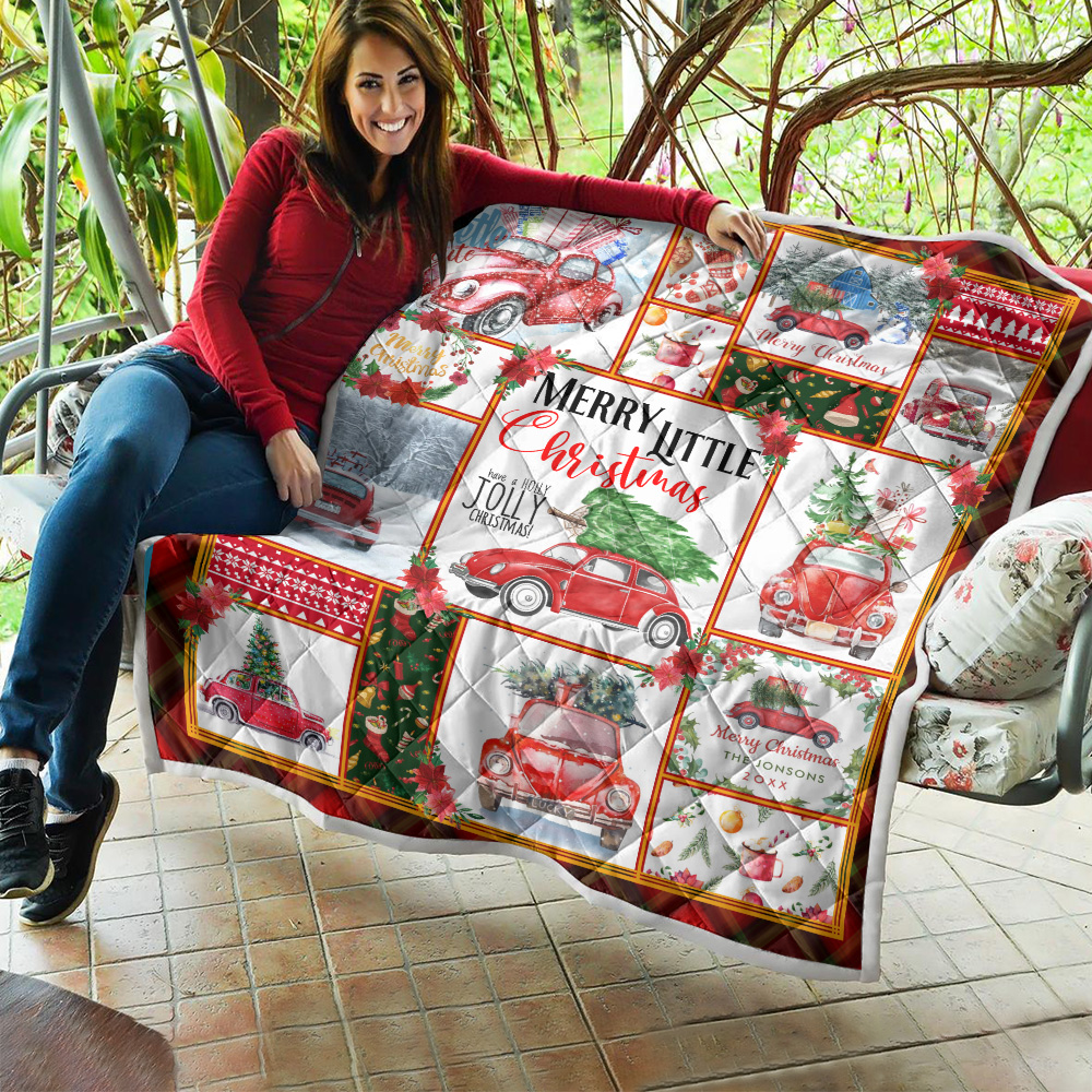 Personalized Quilt Throw Blanket Red Volkswagen Beetle Christmas Pattern 1 Lightweight Super Soft Cozy For Decorative Couch Sofa Bed