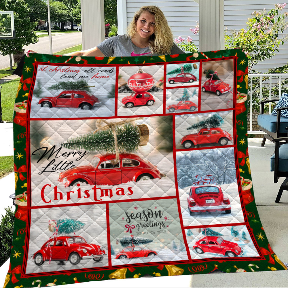 Personalized Quilt Throw Blanket Red Volkswagen Beetle Christmas Pattern 2 Lightweight Super Soft Cozy For Decorative Couch Sofa Bed