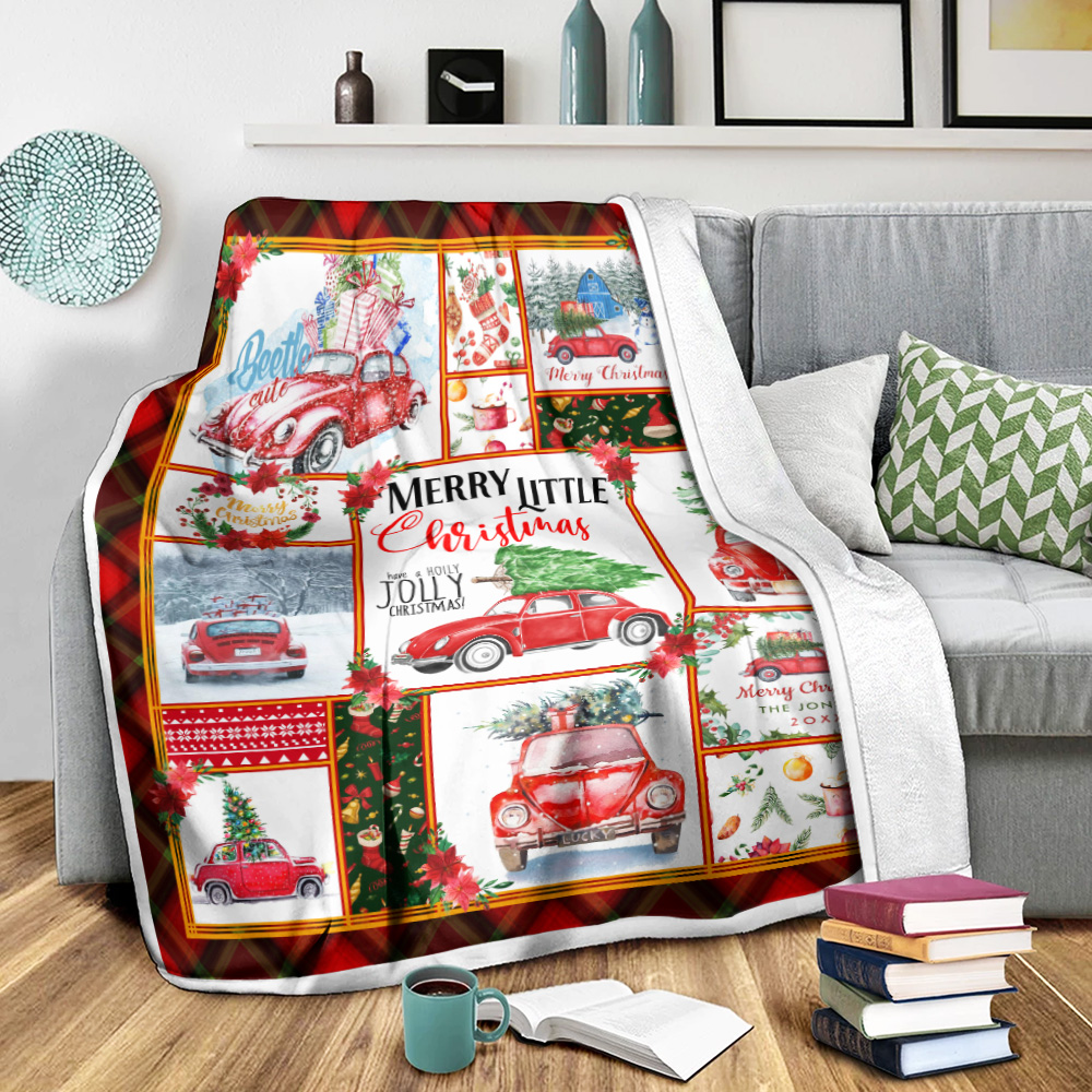 Personalized Fleece Throw Blanket Red Volkswagen Beetle Christmas Pattern 1 Lightweight Super Soft Cozy For Decorative Couch Sofa Bed