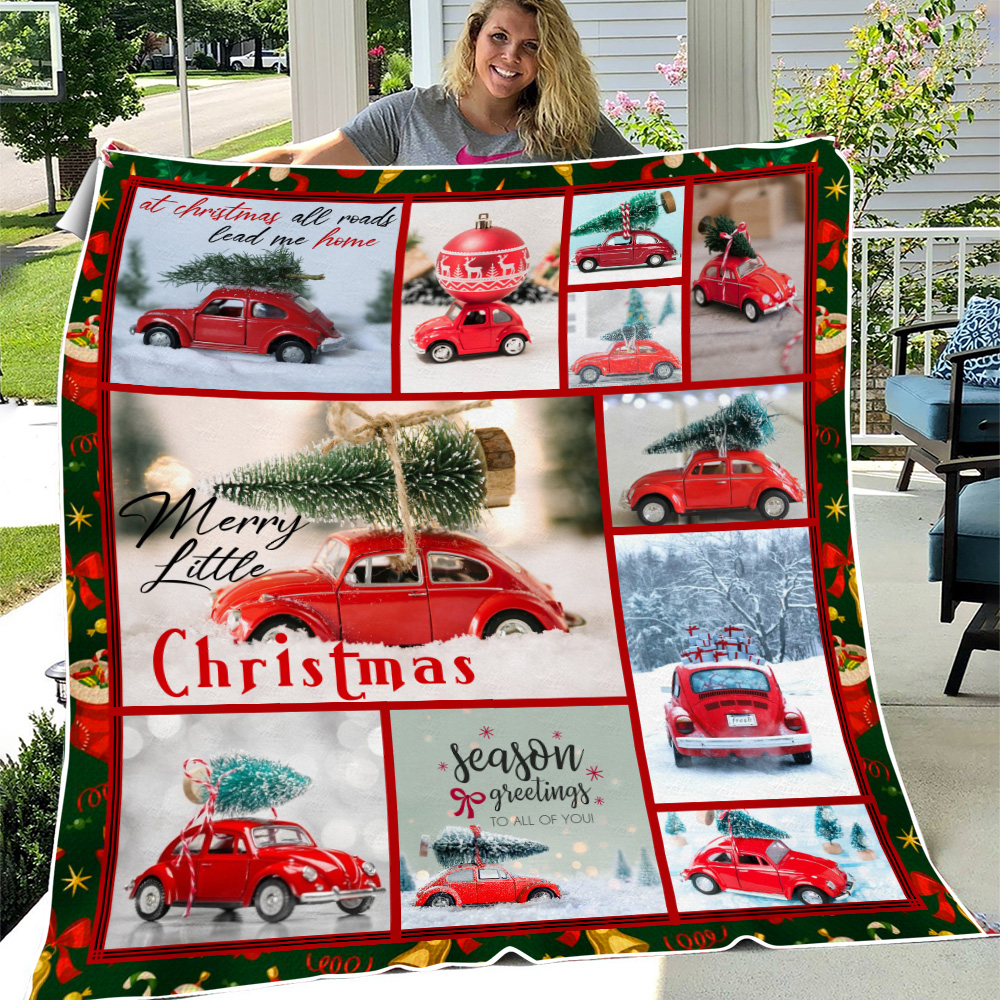Personalized Fleece Throw Blanket Red Volkswagen Beetle Christmas Pattern 2 Lightweight Super Soft Cozy For Decorative Couch Sofa Bed