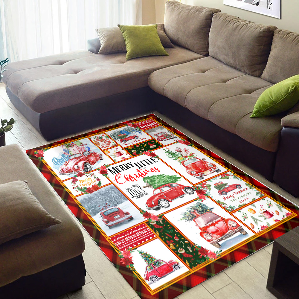 Personalized Floor Area Rugs Red Volkswagen Beetle Christmas Pattern 1 Indoor Home Decor Carpets Suitable For Children Living Room Bedroom Birthday Christmas Aniversary