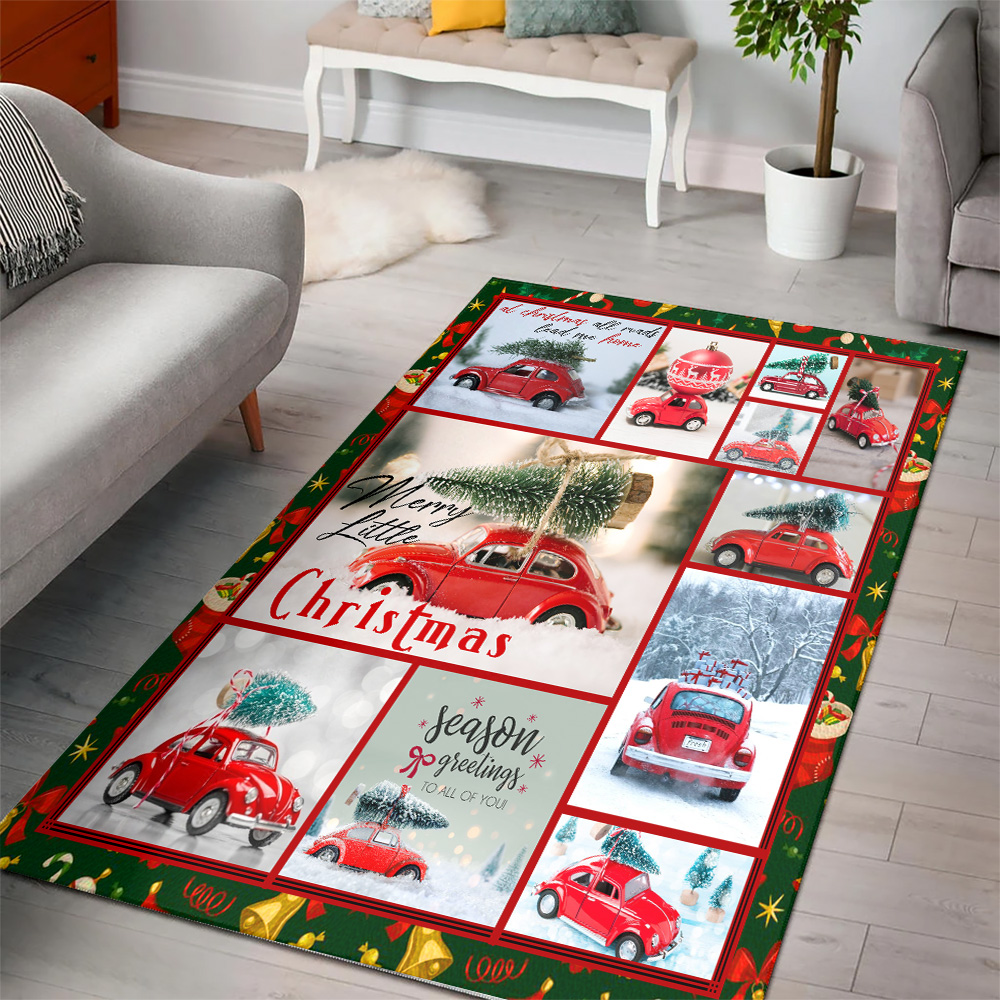 Personalized Floor Area Rugs Red Volkswagen Beetle Christmas Pattern 2 Indoor Home Decor Carpets Suitable For Children Living Room Bedroom Birthday Christmas Aniversary