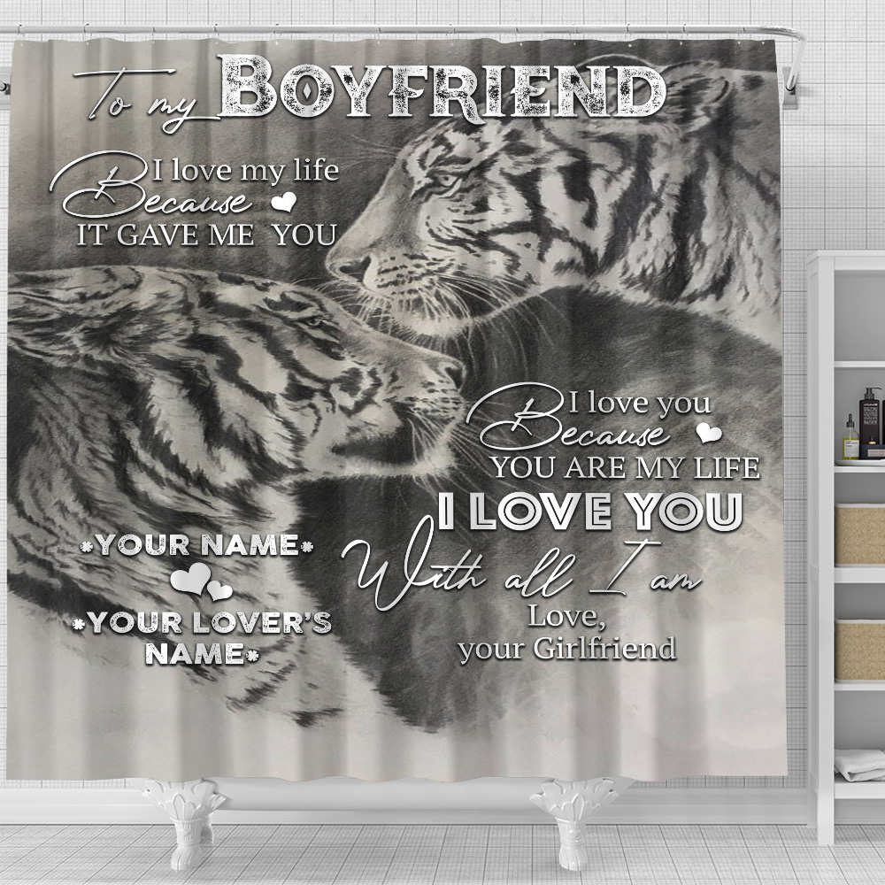Personalized Lovely Shower Curtain To My Boyfriend You Are My Life Pattern 1 Set 12 Hooks Decorative Bath Modern Bathroom Accessories Machine Washable