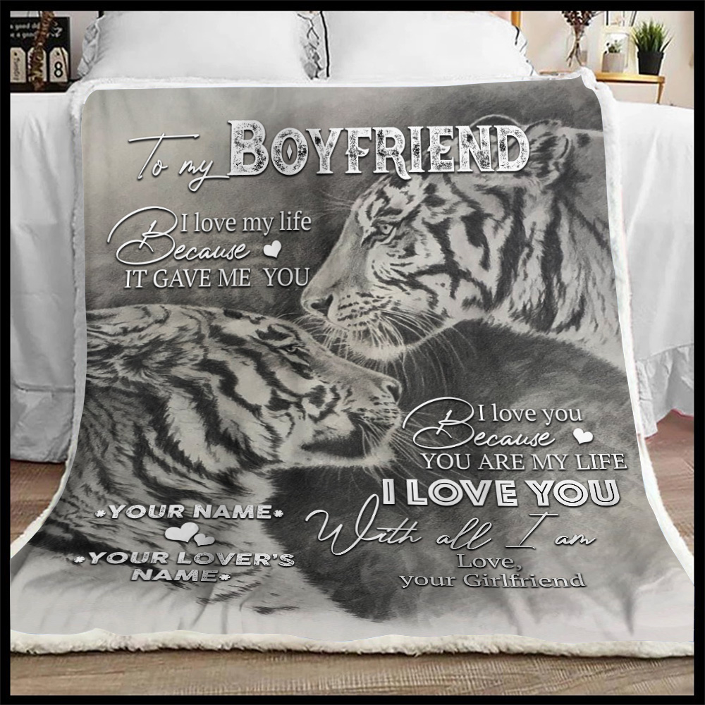 Personalized Lovely Fleece Throw Blanket To My Boyfriend You Are My Life Pattern 1 Lightweight Super Soft Cozy For Decorative Couch Sofa Bed