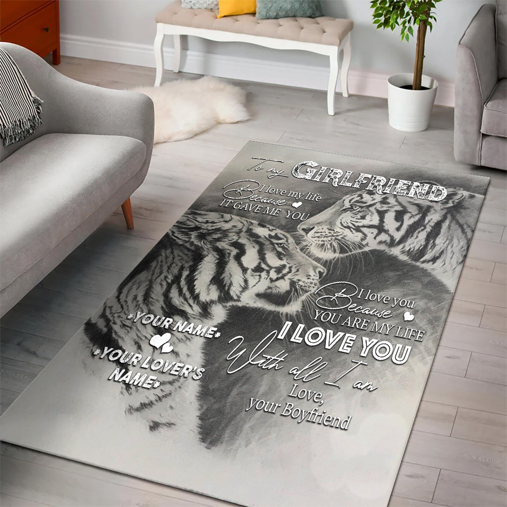 Personalized Lovely To My Girlfriend You Are My Life Pattern 1 Vintage Area Rug Anti-Skid Floor Carpet For Living Room Dinning Room Bedroom Office