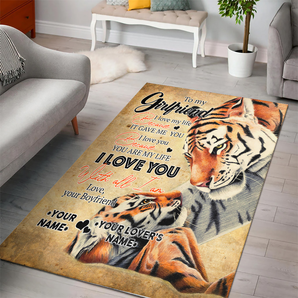 Personalized Lovely To My Girlfriend You Are My Life Pattern 2 Vintage Area Rug Anti-Skid Floor Carpet For Living Room Dinning Room Bedroom Office
