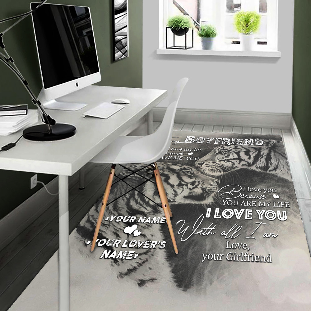 Personalized Lovely To My Boyfriend You Are My Life Pattern 1 Vintage Area Rug Anti-Skid Floor Carpet For Living Room Dinning Room Bedroom Office