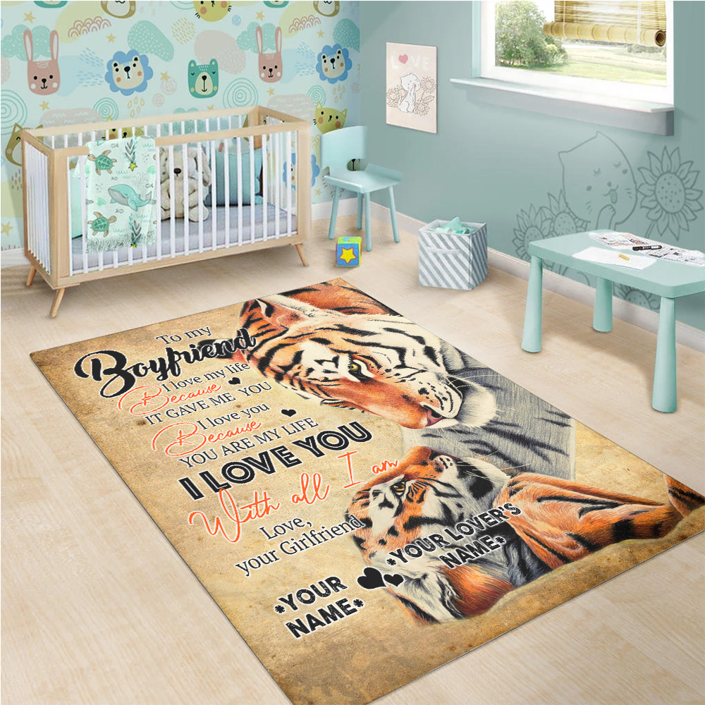 Personalized Lovely To My Boyfriend You Are My Life Pattern 2 Vintage Area Rug Anti-Skid Floor Carpet For Living Room Dinning Room Bedroom Office