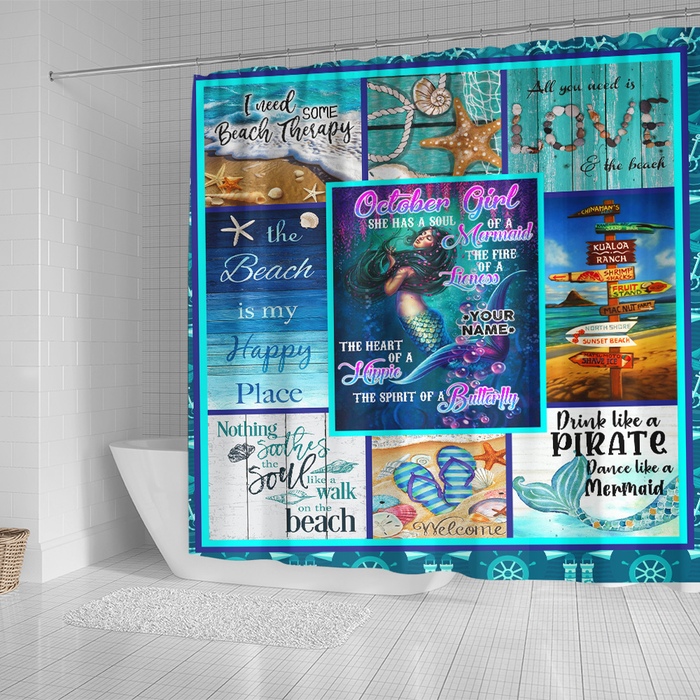 Personalized Shower Curtain October Girl She Has A Soul Of A Mermaid Pattern 1 Set 12 Hooks Decorative Bath Modern Bathroom Accessories Machine Washable