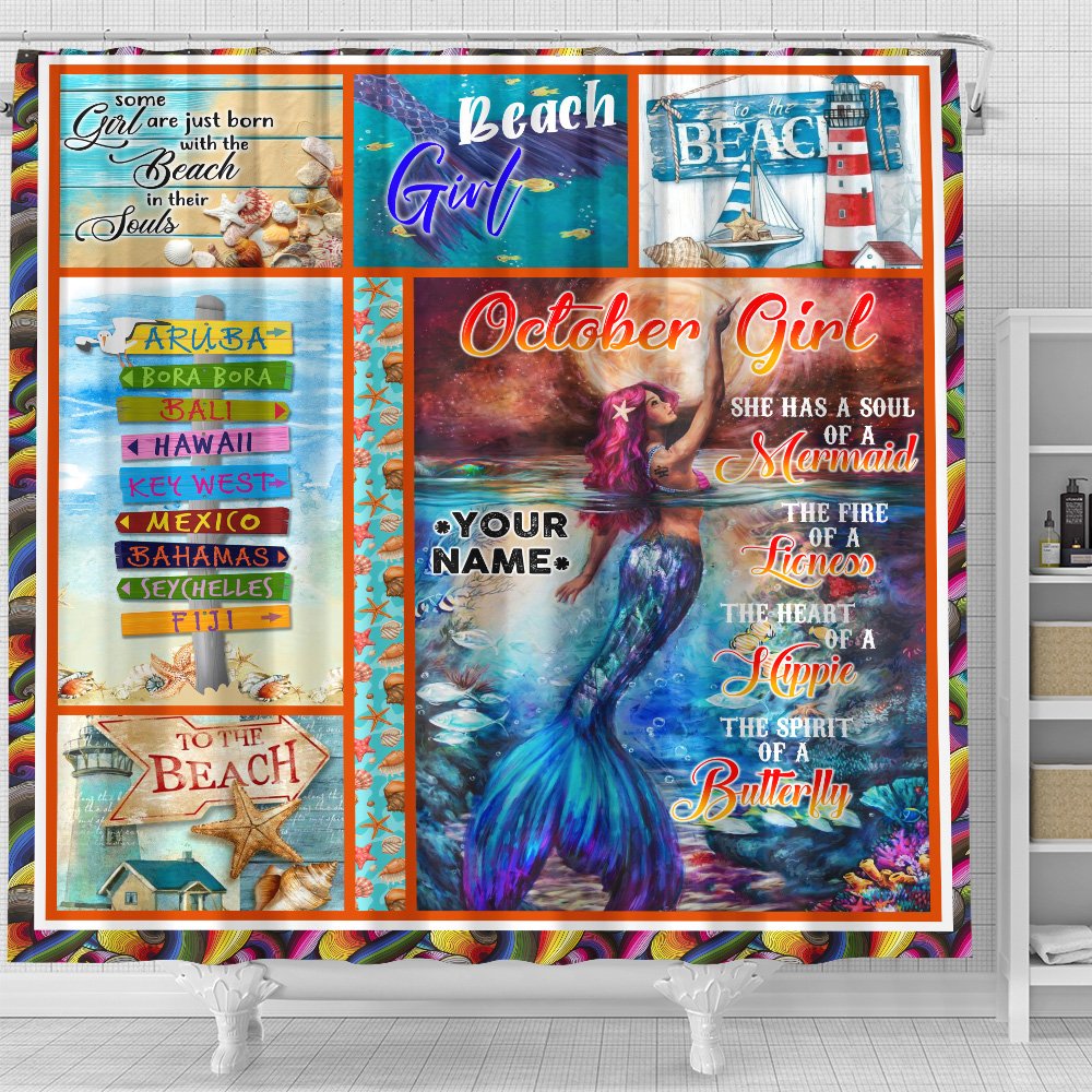 Personalized Shower Curtain October Girl She Has A Soul Of A Mermaid Pattern 2 Set 12 Hooks Decorative Bath Modern Bathroom Accessories Machine Washable