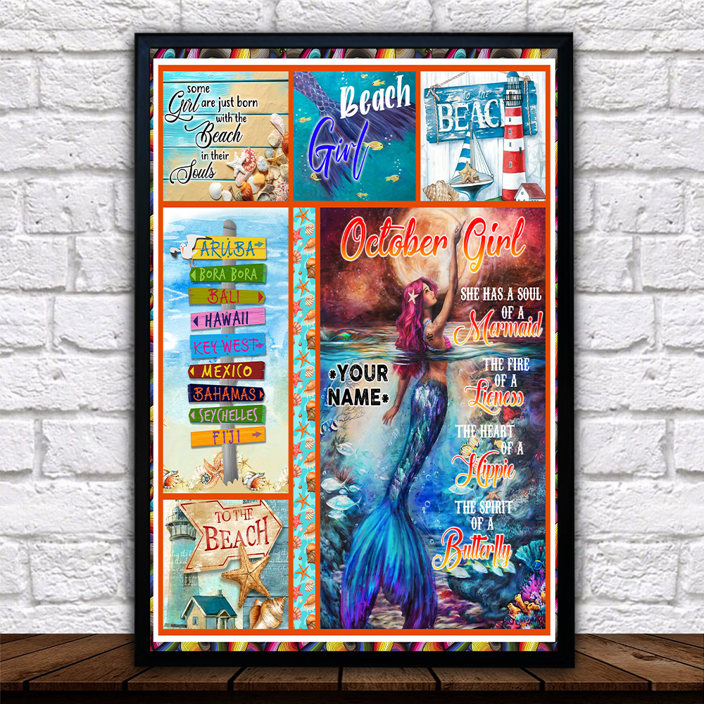 Personalized Wall Art Poster October Girl She Has A Soul Of A Mermaid Pattern 2 Prints Decoracion Wall Art Picture Living Room Wall