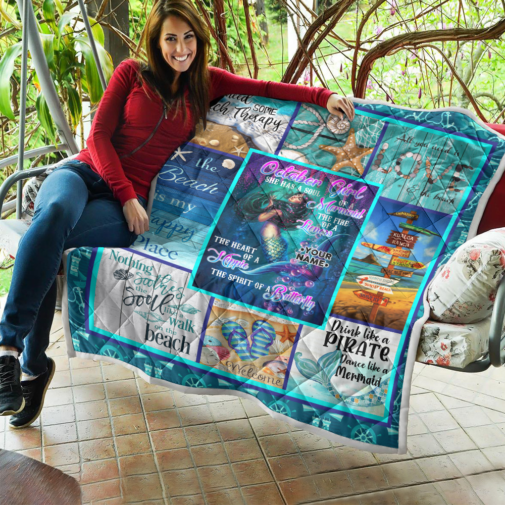 Personalized Quilt Throw Blanket October Girl She Has A Soul Of A Mermaid Pattern 1 Lightweight Super Soft Cozy For Decorative Couch Sofa Bed