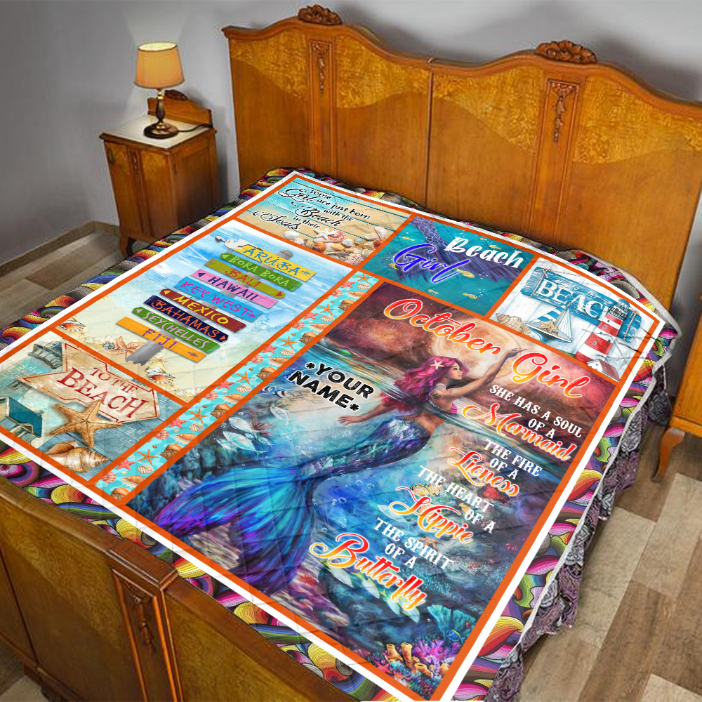 Personalized Quilt Throw Blanket October Girl She Has A Soul Of A Mermaid Pattern 2 Lightweight Super Soft Cozy For Decorative Couch Sofa Bed