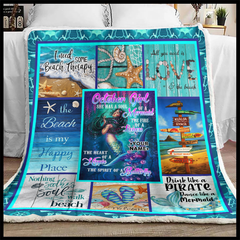 Personalized Fleece Throw Blanket October Girl She Has A Soul Of A Mermaid Pattern 1 Lightweight Super Soft Cozy For Decorative Couch Sofa Bed