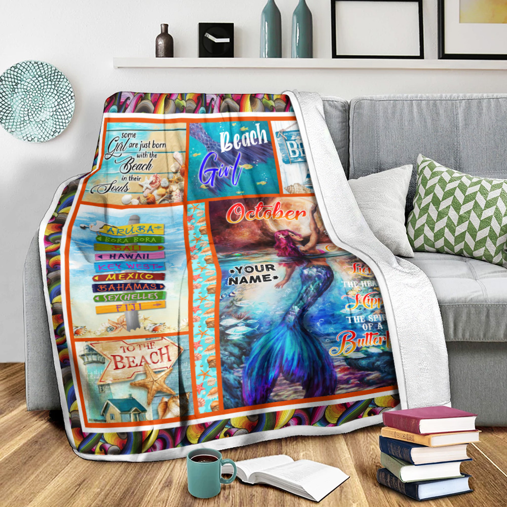 Personalized Fleece Throw Blanket October Girl She Has A Soul Of A Mermaid Pattern 2 Lightweight Super Soft Cozy For Decorative Couch Sofa Bed