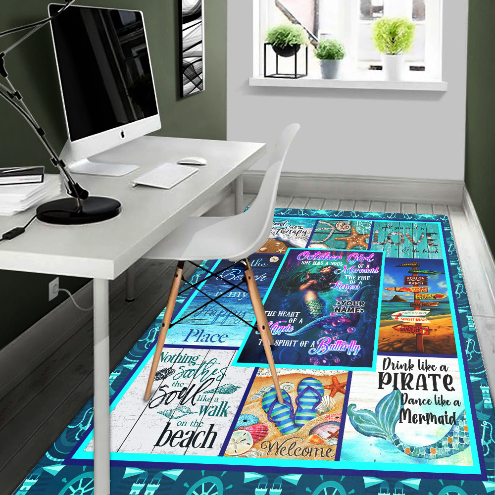 Personalized October Girl She Has A Soul Of A Mermaid Pattern 1 Vintage Area Rug Anti-Skid Floor Carpet For Living Room Dinning Room Bedroom Office