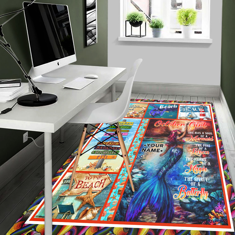 Personalized October Girl She Has A Soul Of A Mermaid Pattern 2 Vintage Area Rug Anti-Skid Floor Carpet For Living Room Dinning Room Bedroom Office