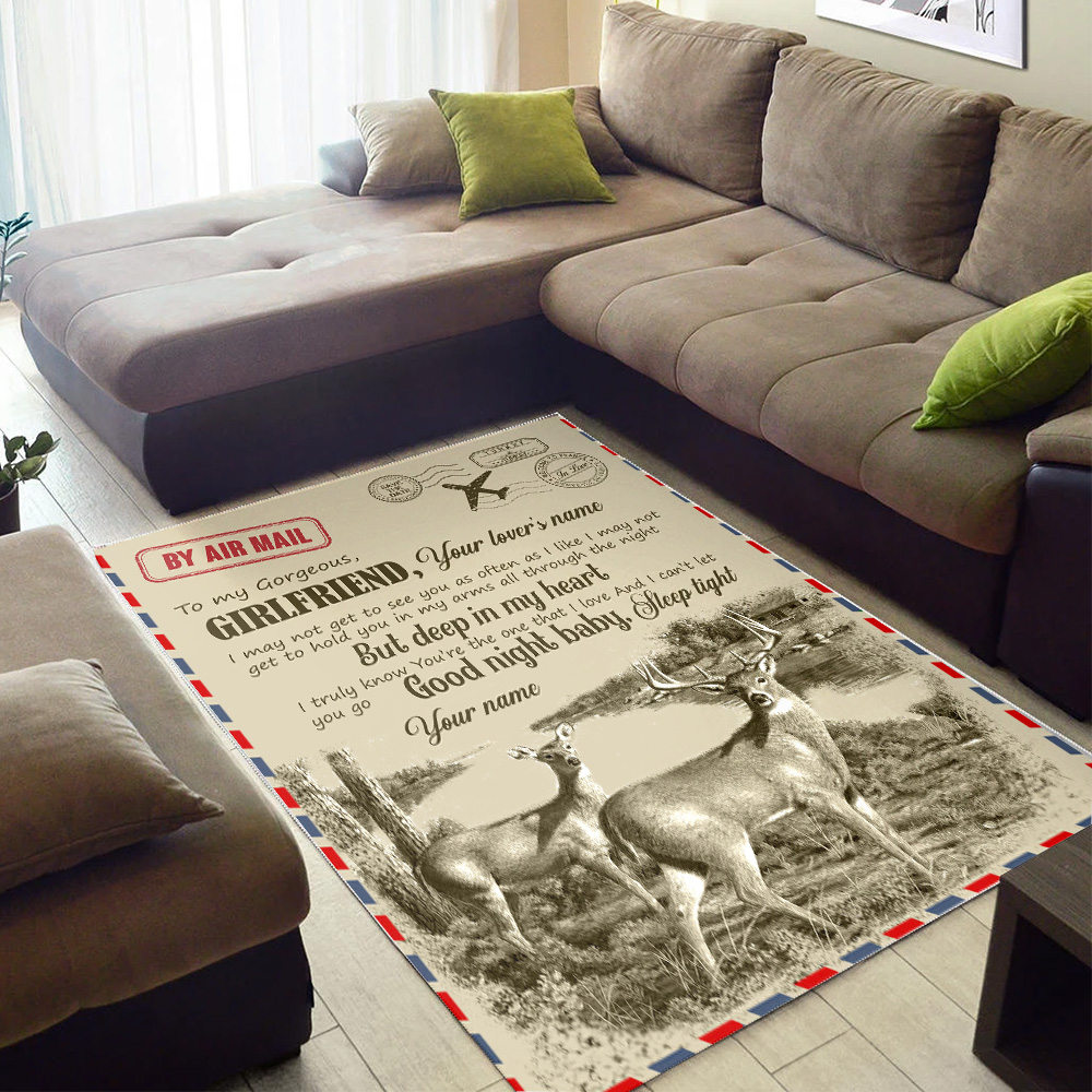 Personalized Lovely To My Girlfriend You Are The One That I Love Pattern 2 Vintage Area Rug Anti-Skid Floor Carpet For Living Room Dinning Room Bedroom Office