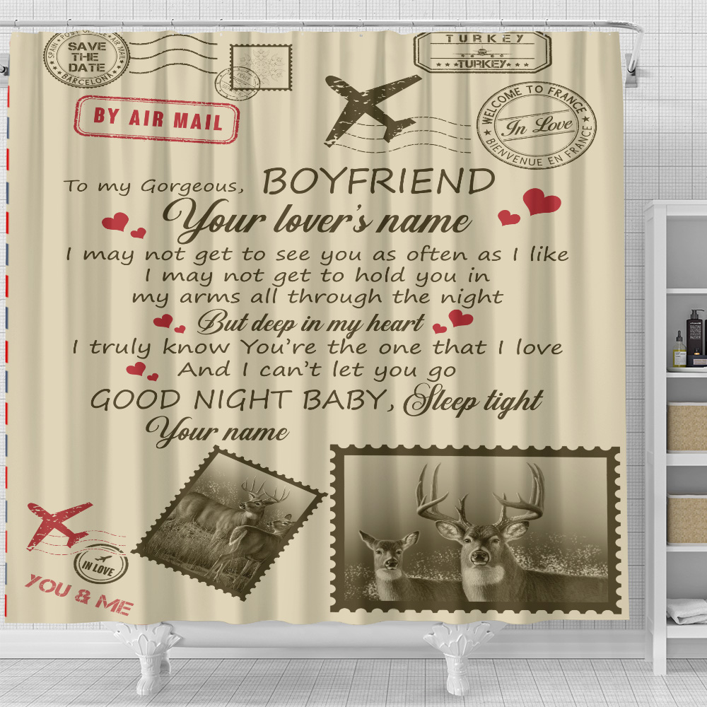 Personalized Lovely Shower Curtain To My Boyfriend You Are The One That I Love Pattern 1 Set 12 Hooks Decorative Bath Modern Bathroom Accessories Machine Washable
