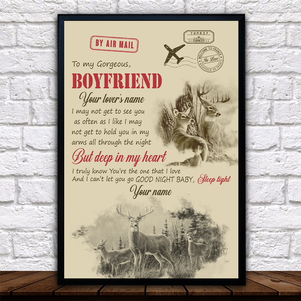 Personalized Lovely Wall Art Poster To My Boyfriend You Are The One That I Love Pattern 1 Prints Decoracion Wall Art Picture Living Room Wall