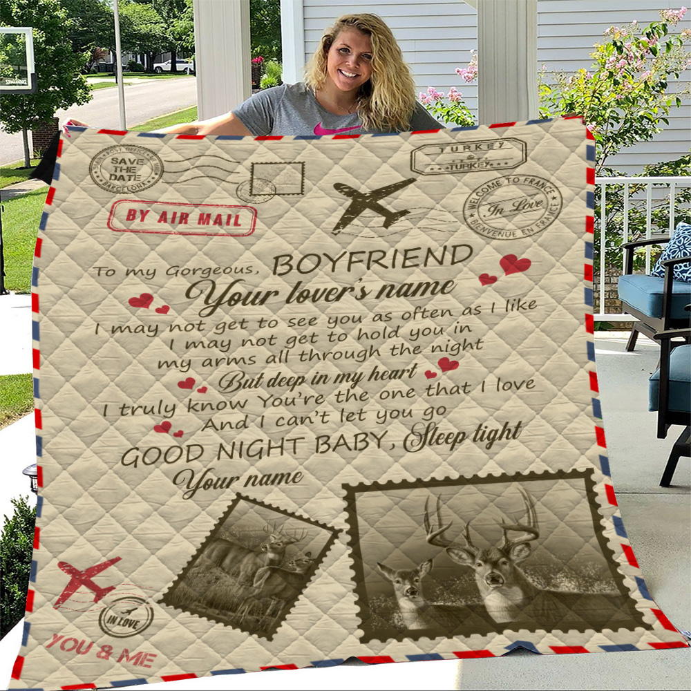 Personalized Lovely Quilt Throw Blanket To My Boyfriend You Are The One That I Love Pattern 1 Lightweight Super Soft Cozy For Decorative Couch Sofa Bed