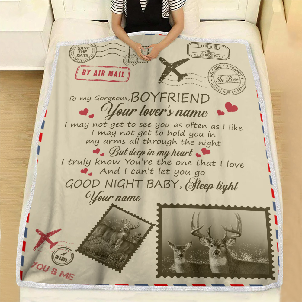 Personalized Lovely Fleece Throw Blanket To My Boyfriend You Are The One That I Love Pattern 1 Lightweight Super Soft Cozy For Decorative Couch Sofa Bed