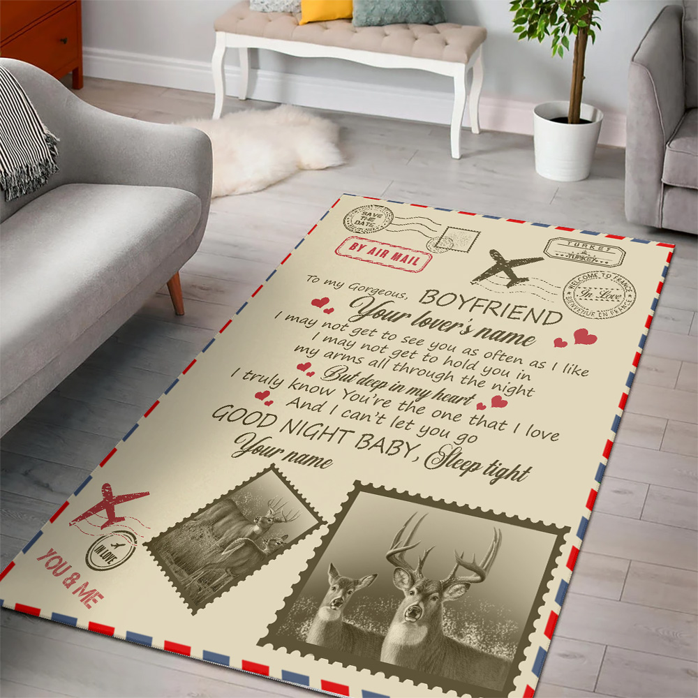 Personalized Lovely To My Boyfriend You Are The One That I Love Pattern 1 Vintage Area Rug Anti-Skid Floor Carpet For Living Room Dinning Room Bedroom Office