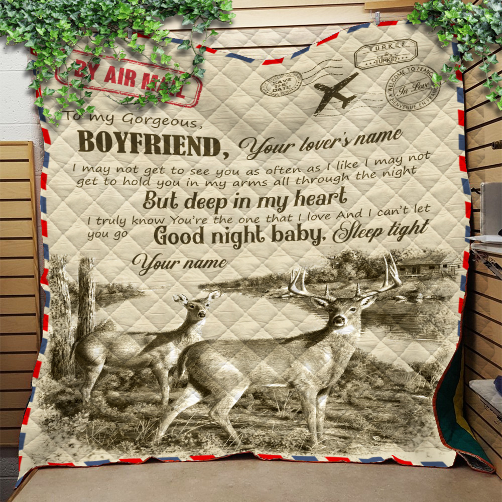Personalized Lovely Quilt Throw Blanket To My Boyfriend You Are The One That I Love Pattern 2 Lightweight Super Soft Cozy For Decorative Couch Sofa Bed