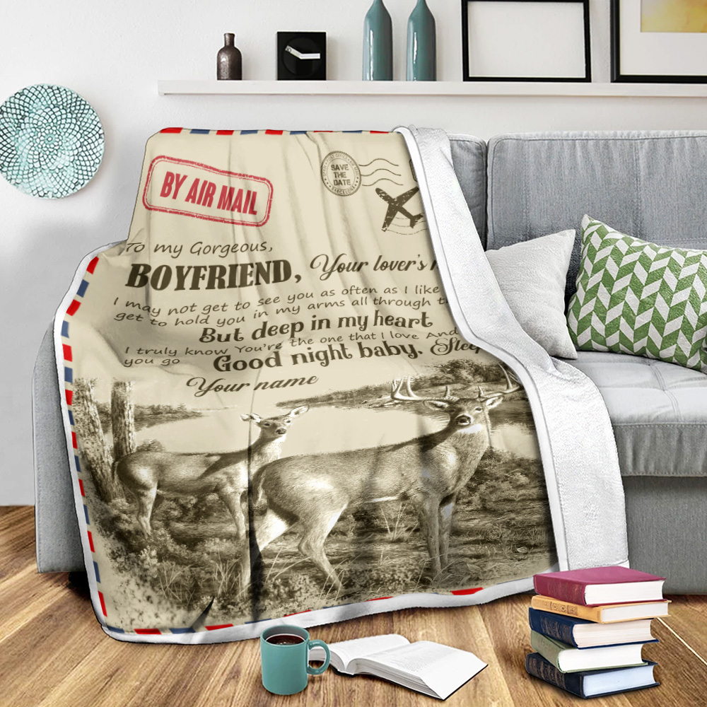 Personalized Lovely Fleece Throw Blanket To My Boyfriend You Are The One That I Love Pattern 2 Lightweight Super Soft Cozy For Decorative Couch Sofa Bed